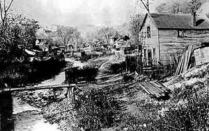 Svenskarnas slumkvarter Swede Hollow, i Minneapolis/St Paul i början av 1910-talet.