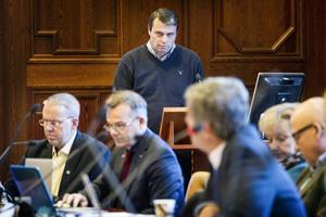 Daniel Kindberg är han utfrågades på kommunstyrelsen 11 november.