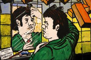 Konstnären avbildad av sig själv på väg till vårfesten för länge sedan, en av utställningens många illustrationer.
