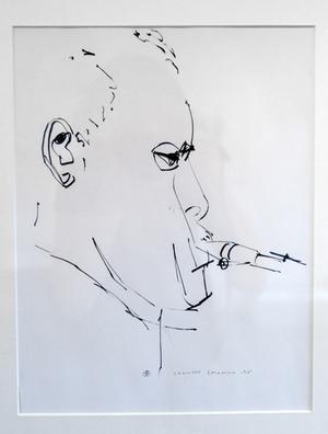 """""""Ornette Coleman"""". I utställningen finns också flera teckningar av jazzmusiker."""