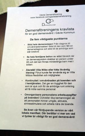 Demensföreningens kravlista.