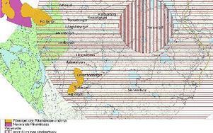 De gula område är de nya som Energimyndigheten förelås för vindbruk, det lila är nuvarande utpekat område. Grönt är Vildmarksriket och det randiga skyddområde för radarväderstationen. KARTA: NENERGIVERKET/LEKSANDSKOMMUN