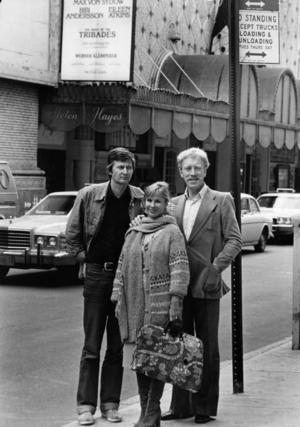 """1977. Med Bibi Andersson, Max von Sydow och """"Tribadernas natt"""" på Broadway."""