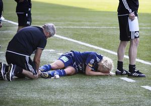 Petra Lindblom i SDFF fick sin hälsena avsliten i matchen mot Älta IF lördagen den 6/7-13.