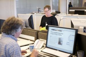 ljust och fräscht. Dagredigerarna Ulrik Eriksen och Maria Slagbrand är nöjda med sin nya arbetsplats.
