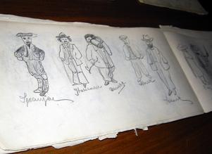 Ett av Olle Nordmarks tidiga skissblock. Foto:Pär Sönnert
