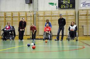 En match i boccia. Från vänster: Kristina Lind, Catarina Tylleskär, Matilda Jonsson, Tore Wedin, Anita Wik, Kent Carlsson, Zandra Reppe.