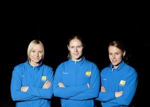 Jättefavoriter. Rönnby Tigers Karolina Widar, Hanna Pettersson och Sanna Scheer är tre ess i Sveriges VM-trupp i innebandy.