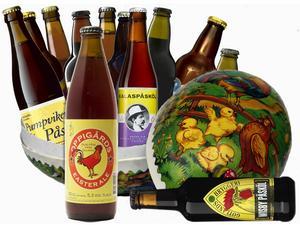 Likt tidigare år lanseras ett antal passande öl till påsk. I år finns 15 varianter att välja på i Systemets normala sortiment.  Samtliga släpptes 7 mars. Foto/montage: Sune Liljevall