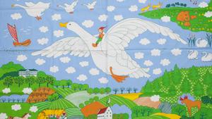 "Tyget ""Gåsen"" av Ulla Eson Bodin."