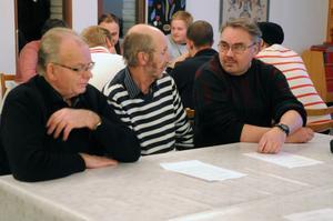 John-Erik Nilsson, Alf Linddahl och Tore Herbertsson diskuterade framtidsfrågor i Dala-Järna.