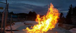 Under det avbrutna testet flödade fri gas upp av eget tryck