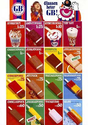 1968, Igloo i två smaker i en glass och en Ananaspinne som nyhet.