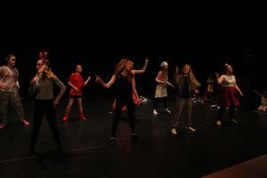 Eleverna visade en hel del dansglädje på scen.