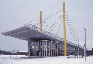 Pylonen, Vägverkets museum i Borlänge är en djärv konstruktion i stål och betong med stora glaspartier.