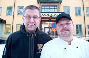 Ricky Karström, måltidschef på kommunen, och Fredrik Berglund, kökschef på Solliden.