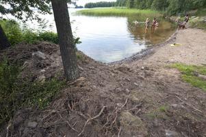 Snart klart för bad. 100 ton sand ska fördelas på stranden och i vattnet på lördag, sen blir det grillfest.