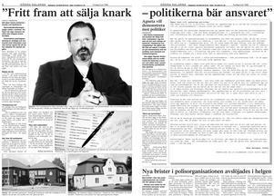 Artikeln om Peter Springares kritik mot politiker och polisledning, samt hans öppna brev, publicerades över ett uppslag i Södra Dalarnes Tidning den 9 juli 1998.