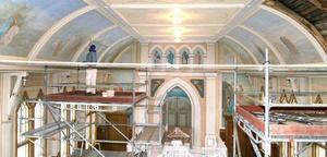 Arbetet är i full gång för att återställa kyrkan i sitt ursprungliga skick. Foto: Sandra Mattsson