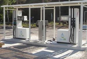 Så här ser designen ut för pumparna vid automatstationen i uppländska Örbyhus. Stationen i Arbrå ska få en likadan utformning.