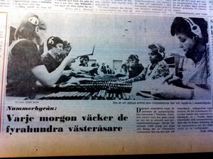 Från VLT:s förstasida 2 december 1970. Nummerbyrån får besök av journalisten Fjodor.