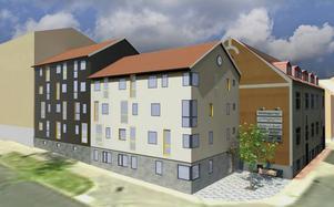 Så här är det tänkt att det nya flerbostadshuset ska se ut i kvarteret Västra Falun 4 i hörnet av Myntgatan/Gruvgatan,
