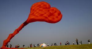 Hjärtformad drake i Mumbai.