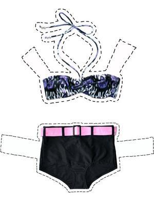 Etno-mönstrad överdel från Lindex, 129 kr, och bikiniunderdel med hög midja, Lindex 129 kr.