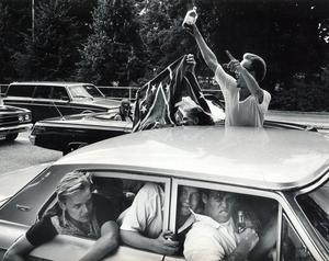 Polisen var mycket nöjd med Power Meet i helgen, även om den lilla svansen som alltid utmärker sig fanns där. De flesta av svärmorsdrömmarna somnade dock snart. Bilden togs 1989.