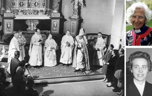 Ingrid Hansson prästvigdes i Härnösands domkyrka av biskop Ruben Josefson (stora bilden) den 10 april 1960. Samma dag blev även Margit Sahlin och Elisabeth Djurle präster i Svenska kyrkan.