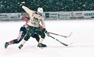 Tobias Björklund satte tre nya mål för Ljusdal. Totalt har skyttekungen gjort 22.