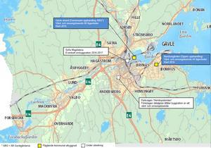 De blå markeringarna visar planerade kommunala särskilda boenden för äldre. De vita rutorna visar sådana som är under utredning.