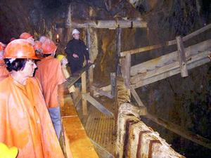 I gruvgångarna fick resenärerna veta hur falukorven kom till.