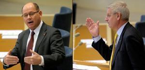 Carl Bildt väljer, säger han själv, frihet och demokrati, Urban Ahlin sitter till bords med