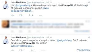 Twitter-uppdateringarna som fick Lars Beckman blockad av SVT Gävleborg.