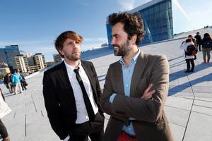 Ruben Östlund och Erik Hemmendorff spelar in film i Åre.