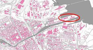 Området som Gävle strands etapp 3 ska byggas på.