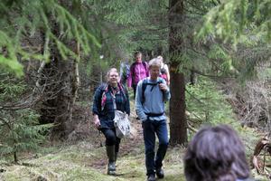 Timrå och Härnösands naturskyddsföreningar vandrade tillsammans i Mjällådalen i jakt på spännande vårsvampar. Längst fram Sofia Lundell, Härnösand och Anders Lundin, Timrå.