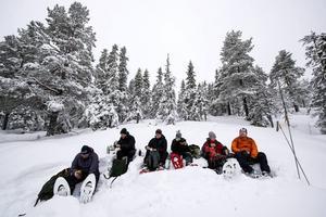 Vi följde med på snöskovandring i Skuleskogen. En allt mer populär aktivitet.