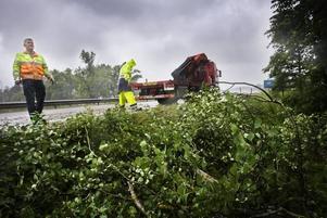 Per-Åke Lantz och Niklas Östlund for kors och tvärs för att få bort träd från vägarna.