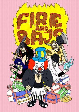 Den tecknade bilden med Fire & Bajs. Illustration av Kevin Engberg och Per Lindberg.
