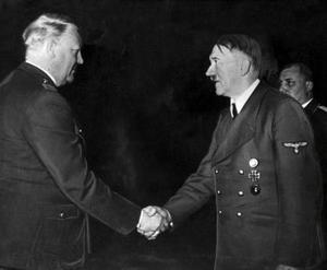 Norsk-tysk förbrödning: Vidklun Quisling möter Adolf Hitler.