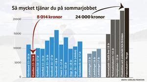 Grafiken visar månadslönen för sommarjobbare.