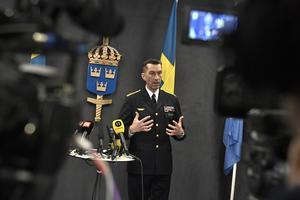 ÖB Micael Bydén presenterar Försvarsmaktens budgetunderlag vid en pressträff på tisdagen.