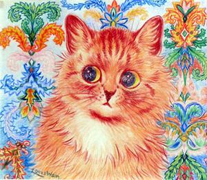 Under sin tid som sjuk får Louis Wains katter allt mer sjuka drag själva och bakgrunderna blir mer abstrakta och diffusa.
