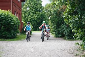 Cyklande barn får samsas med biltrafiken i Gamla byn. Men att göra vägbulor är uteslutet, menar Gamla Byns VD Örjan Willemark. Länsantikvarien skulle aldrig godkänna det, menar han. Det är den person som anvarar för en länsstyrelses enhet för kulturmiljö.