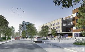 Arkitektfirmans skiss över hur det nya bostadsområdet Södra Källtorp kan komma att se ut.