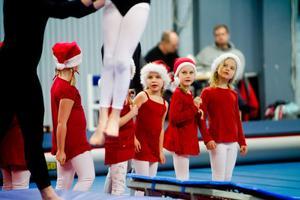 Truppgymnastik lilla gruppen visar hur man gör snygga hopp på en trampett.