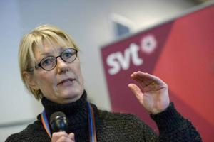 Melodifestivalens projektledare Maria Ilstedt meddelade regeländringarna vid en pressträff i Lidköping på torsdagen. Foto: Janerik Henriksson/TT