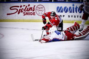 Niklas Svensson gjorde matchens första mål. Sedan tog det roliga slut för Hudik Hockey.